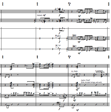 snapshot of score of Music for an Imaginary Ballet