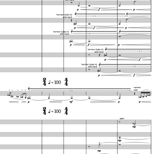 snapshot of score of Concerto for Trumpet and Brass Band